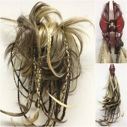 Prenses Peruk - Açık Kahve Sarı Röfleli Örgülü Topuz Saç Postiş