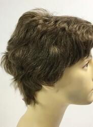 Açık Kumral Beyaz Kırçıllı Doğal Model Gerçek Saç Erkek Peruk - Thumbnail