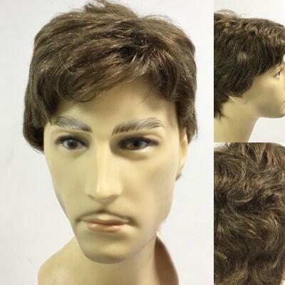Açık Kumral Beyaz Kırçıllı Doğal Model Gerçek Saç Erkek Peruk