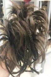 Açık Kumral Örgülü Saç Tokalı Sentetik Topuz - Thumbnail