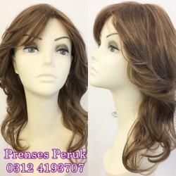 Prenses Peruk - Açık Kumral Sarı Işıltılı Uzun Boy Katlı Modern Kesim Peruk