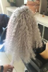 Beyaz Dalgalı Kabarık Afrika Örgüsü Saç Kaynağı - Thumbnail