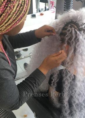Beyaz Dalgalı Kabarık Afrika Örgüsü Saç Kaynağı
