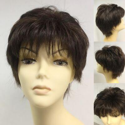 Boyasız Doğal Saç Kısa Kesim Gerçek Saç Peruk