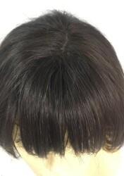 Boyazsız Orta Boy Doğal Model Katlı Kesim Gerçek Saç Peruk - Thumbnail