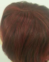 Canlı Kızıl Balyajlı Katlı Kesim Sentetik Peruk - Thumbnail