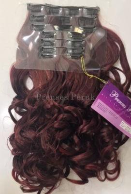 Canlı Kızıl Dalgalı Sentetik Çıtçıt Saç Takımı