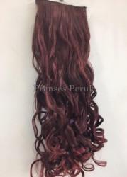 Canlı Kızıl Dalgalı Sentetik Çıtçıt Saç Takımı - Thumbnail