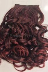 Prenses Peruk - Canlı Kızıl Dalgalı Sentetik Çıtçıt Saç Takımı