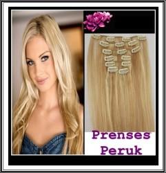 Prenses Peruk - Çıtçıt Saç 8 Adet Tam Takım Acık Sarı Isıya Dayanıklı