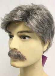 Doğal Gri Tonunda Gerçek Saç Erkek Peruk - Thumbnail