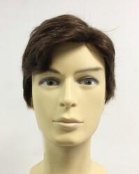 Doğal Kahve Gerçek Saç Erkek Peruk Modeli - Thumbnail