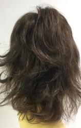 Doğal Kestane Orta Boy Katlı Kesim Kahküllü Gerçek Saç Peruk - Thumbnail