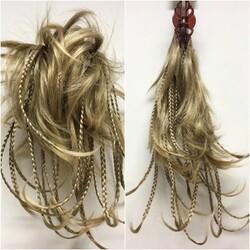 Prenses Peruk - Doğal Kumral Röfleli Örgülü Hazır Telli Topuz Saç Modeli