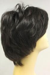 Doğal Renk Koyu Kestane Katlı Kesim Kısa Boy Gerçek Saç Peruk - Thumbnail