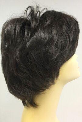 Doğal Renk Koyu Kestane Katlı Kesim Kısa Boy Gerçek Saç Peruk