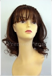 Prenses Peruk - Doğal Saç Peruk Kestane Renk Hafif Dalgalı