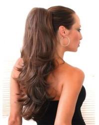 Prenses Peruk - Doğal Saç Uzun Atkuyruk Canlı Kahve