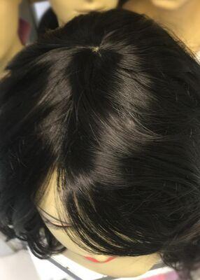 Doğal Siyah Dalgalı Uzun Boy Fiber Sentetik Peruk