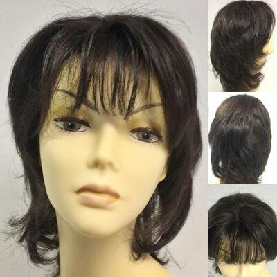 Doğal Siyah Renk Hafif Gerçek Saç Peruk Modeli
