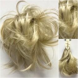 Prenses Peruk - Dore Sarı Sentetik Saç Telli Hazır Topuz Tokası