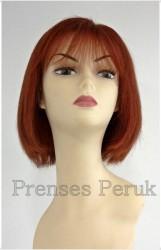 Prenses Peruk - Gerçek Saç Peruk Bakır Kızıl Küt