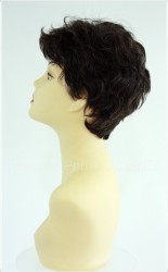 Gerçek Saç Peruk Kestane Renk Kısa Modern - Thumbnail