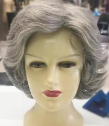 Prenses Peruk - Gri Saç Kısa Model Kaliteli Sentetik Peruk