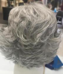 Gri Saç Kısa Model Kaliteli Sentetik Peruk - Thumbnail