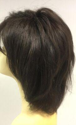 İnce İşçilikli Doğal Kestane Renk Kısa Boy Gerçek Saç Peruk Saç