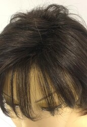 İnce İşçilikli Doğal Kestane Renk Kısa Boy Gerçek Saç Peruk Saç - Thumbnail