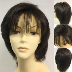 Prenses Peruk - İnce İşçilikli Doğal Kestane Renk Kısa Boy Gerçek Saç Peruk Saç