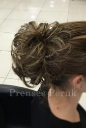 Prenses Peruk - Işıltılı Gölgeli Kahve Lastikli Topuz Modeli