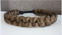 Prenses Peruk - Kahverengi Örgü Saç Bandı Satın Al
