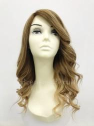 Prenses Peruk - Karamel Kahve Sarı Işıltılı Doğal Saç Uzun Modern Peruk