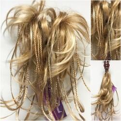 Prenses Peruk - Karamel Ombreli Örgülü Topuz Saç Postiş
