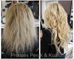 Prenses Peruk - 65 cm Keratin Kaynak Platin Sarısı Doğal Saç Kaynak
