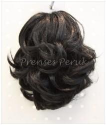 Prenses Peruk - Koyu Kestane Renk Kıvırcık Sentetik Topuz