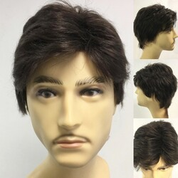 Prenses Peruk - Koyu Kahve Doğal Kesim Gerçek Saç Erkek Peruk