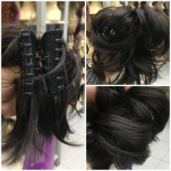 Prenses Peruk - Açık Kestane Telli Topuz Tokası Sentetik Saç Postiş