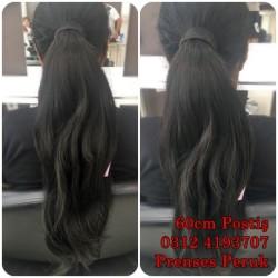 Prenses Peruk - Koyu Kestane Doğal Model 60cm Atkuyruk Postiş