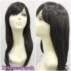 Prenses Peruk - Koyu Kestane Uzun Boy Doğal Model ve Kaliteli Sentetik Peruk