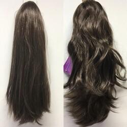 Prenses Peruk - Kumral Renk Uzun Boy Çift Yönlü Sentetik Saç Tokalı Postiş Atkuyruk