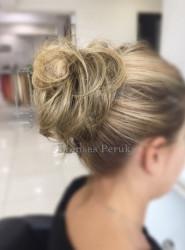 Prenses Peruk - Lastikli Topuz Saç Postiş
