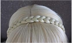 Prenses Peruk - Örgü Saç Bandı Modelleri Platin Renk