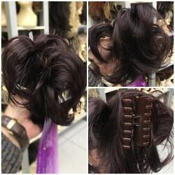 Prenses Peruk - Patlıcan Moru Telli Model Hazır Topuz Tokası Postiş