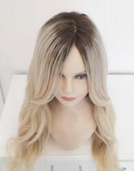 Platin Ombreli Deri Tepelikli Uzun Gerçek Saç Peruk - Thumbnail