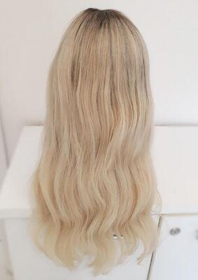 Platin Ombreli Deri Tepelikli Uzun Gerçek Saç Peruk