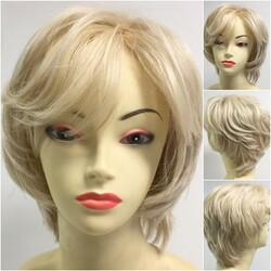 Prenses Peruk - Platin Sarısı Katlı Kesim Doğal Saç Peruk