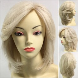 Prenses Peruk - Platin Sarısı Omuz Boyu Gerçek Saç Peruk